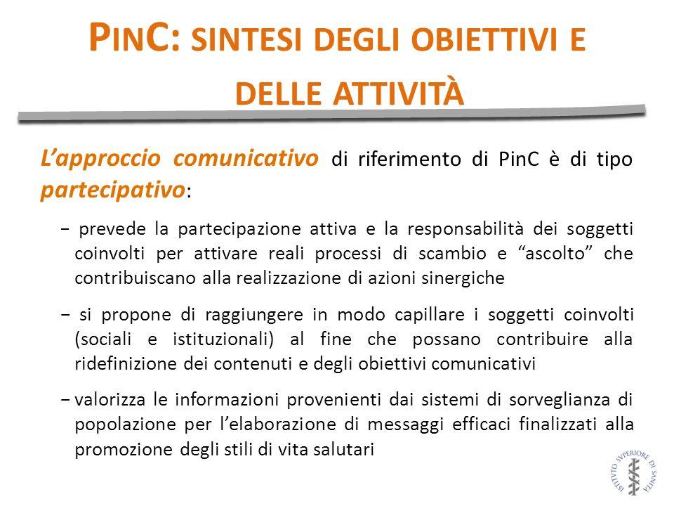 P IN C: SINTESI DEGLI OBIETTIVI E DELLE ATTIVITÀ Lapproccio comunicativo di riferimento di PinC è di tipo partecipativo : prevede la partecipazione at