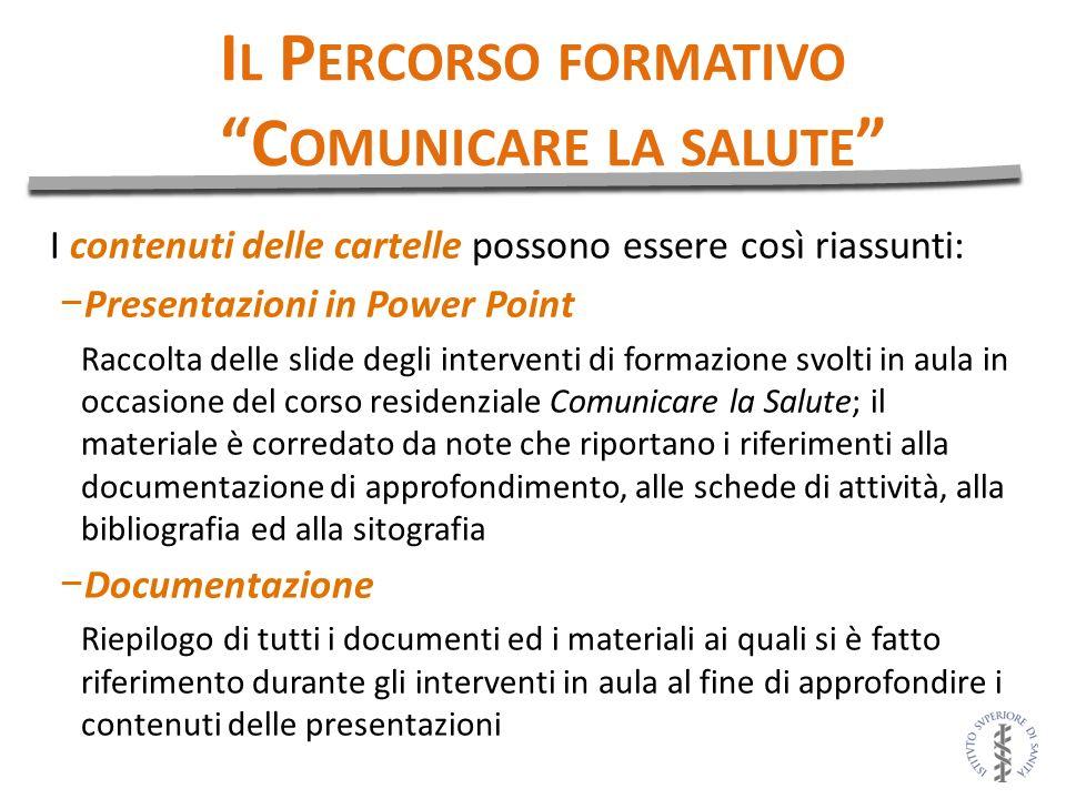 I contenuti delle cartelle possono essere così riassunti: Presentazioni in Power Point Raccolta delle slide degli interventi di formazione svolti in a