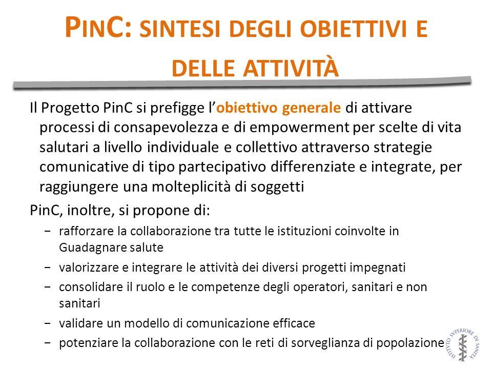 P IN C: SINTESI DEGLI OBIETTIVI E DELLE ATTIVITÀ Il Progetto PinC si prefigge lobiettivo generale di attivare processi di consapevolezza e di empowerm