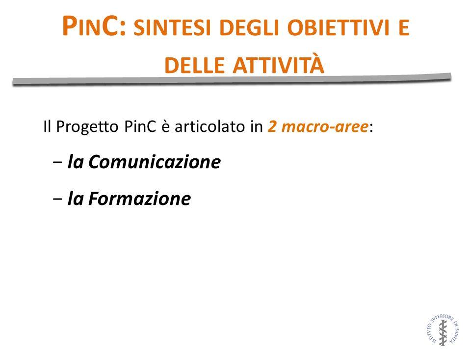 Il Progetto PinC è articolato in 2 macro-aree: la Comunicazione la Formazione