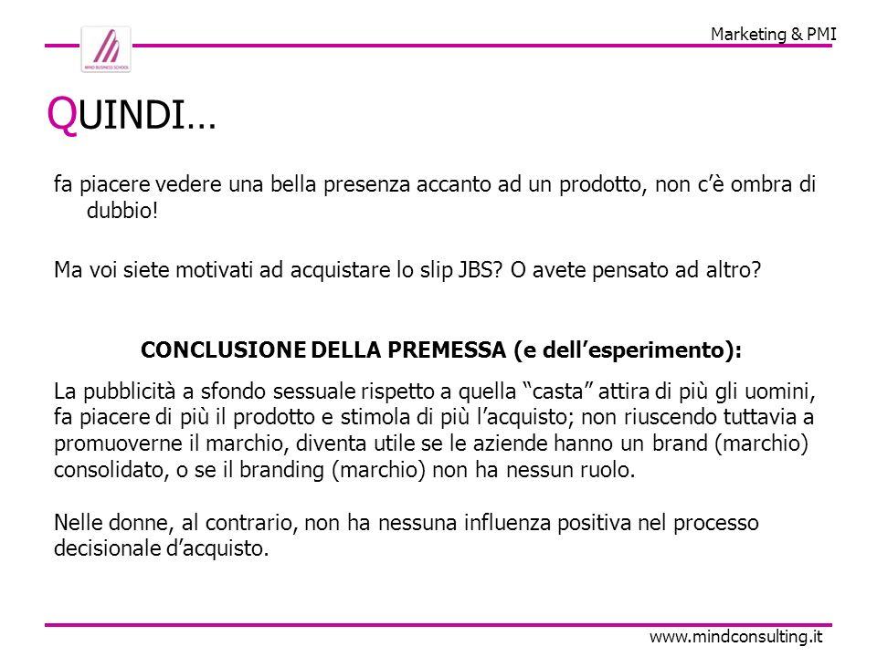 Marketing & PMI www.mindconsulting.it Q UINDI… fa piacere vedere una bella presenza accanto ad un prodotto, non cè ombra di dubbio.