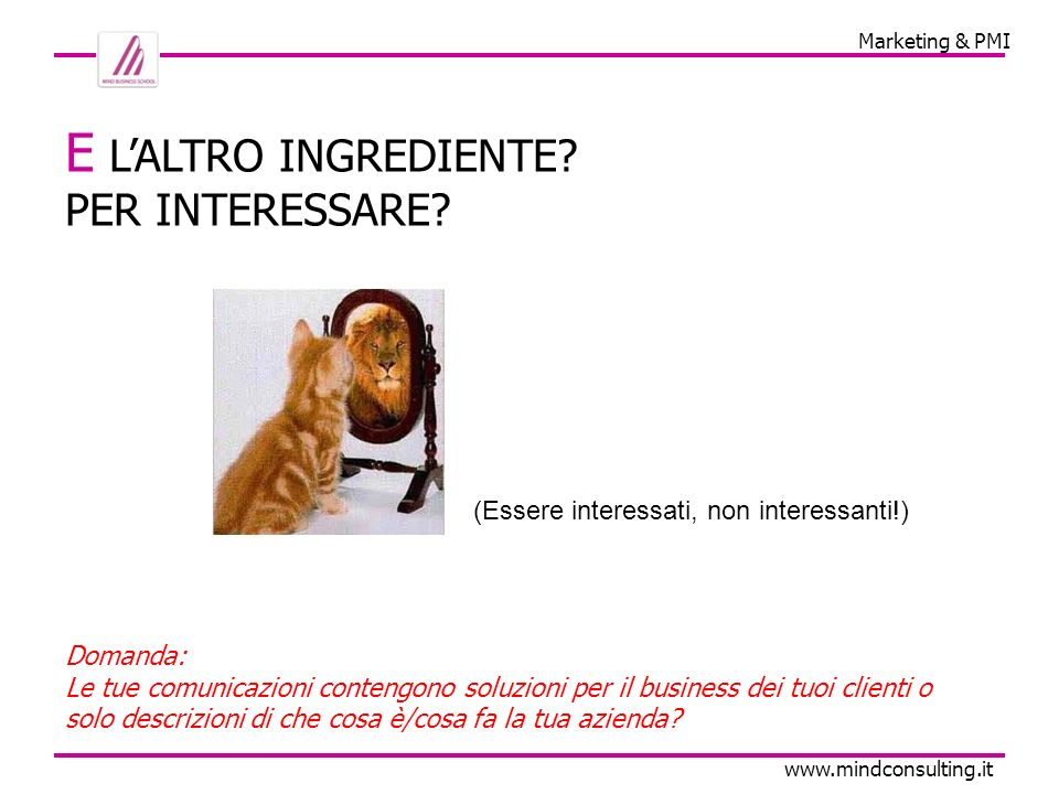 Marketing & PMI www.mindconsulting.it E LALTRO INGREDIENTE.