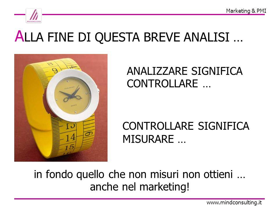 Marketing & PMI www.mindconsulting.it A LLA FINE DI QUESTA BREVE ANALISI … ANALIZZARE SIGNIFICA CONTROLLARE … in fondo quello che non misuri non ottieni … anche nel marketing.