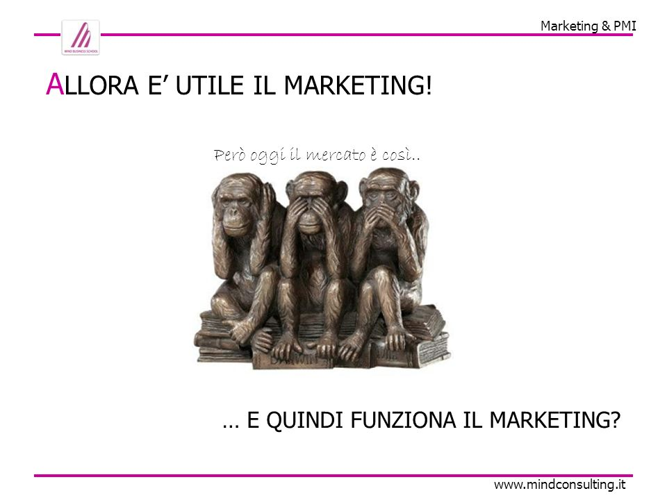 Marketing & PMI www.mindconsulting.it … E QUINDI FUNZIONA IL MARKETING.