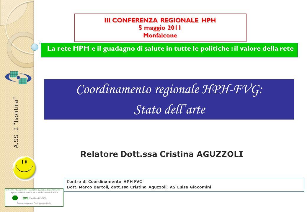 A.SS.2 Isontina III CONFERENZA REGIONALE HPH 5 maggio 2011 Monfalcone La rete HPH e il guadagno di salute in tutte le politiche : il valore della rete Centro di Coordinamento HPH FVG Dott.