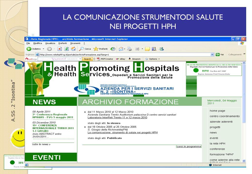 A.SS.2 Isontina LA COMUNICAZIONE STRUMENTODI SALUTE NEI PROGETTI HPH