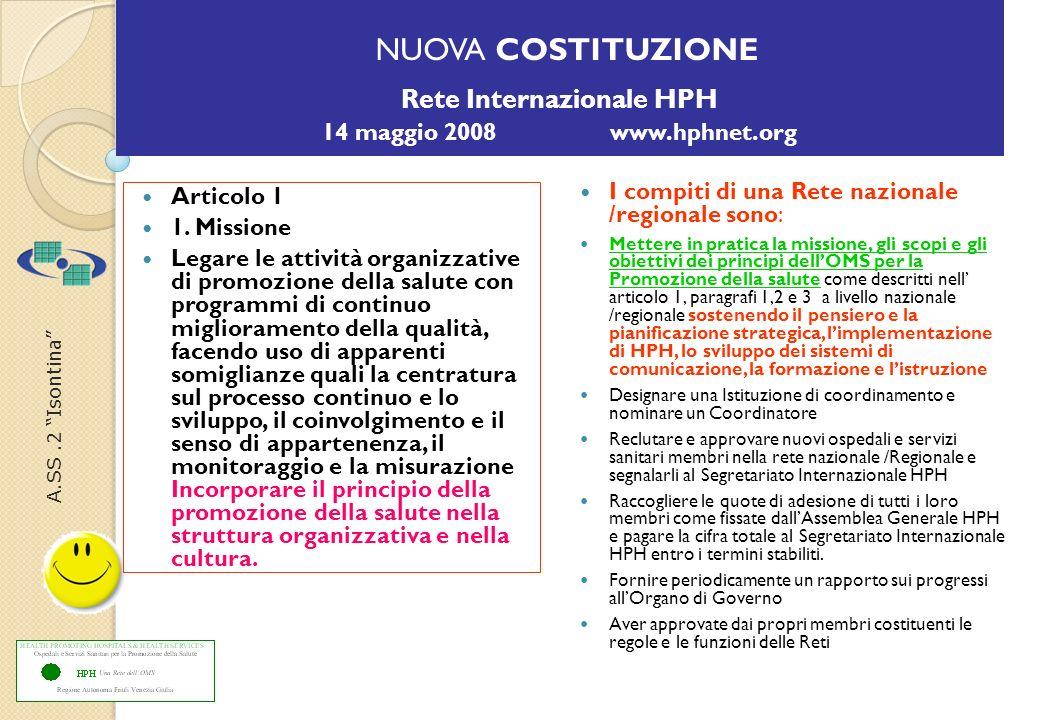 A.SS.2 Isontina NUOVA COSTITUZIONE Rete Internazionale HPH 14 maggio 2008 www.hphnet.org Articolo 1 1.