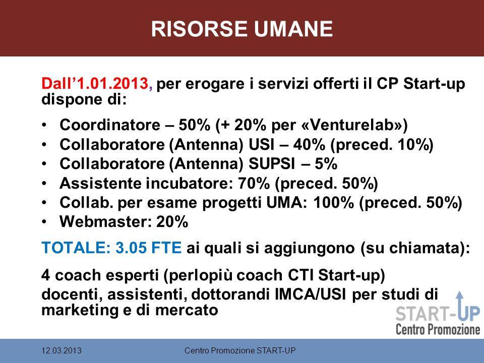 RISORSE UMANE Dall1.01.2013, per erogare i servizi offerti il CP Start-up dispone di: Coordinatore – 50% (+ 20% per «Venturelab») Collaboratore (Antenna) USI – 40% (preced.