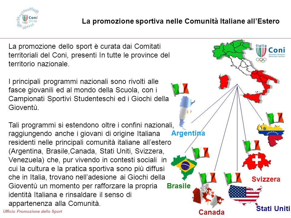 Ufficio Promozione dello Sport La promozione dello sport è curata dai Comitati territoriali del Coni, presenti In tutte le province del territorio nazionale.
