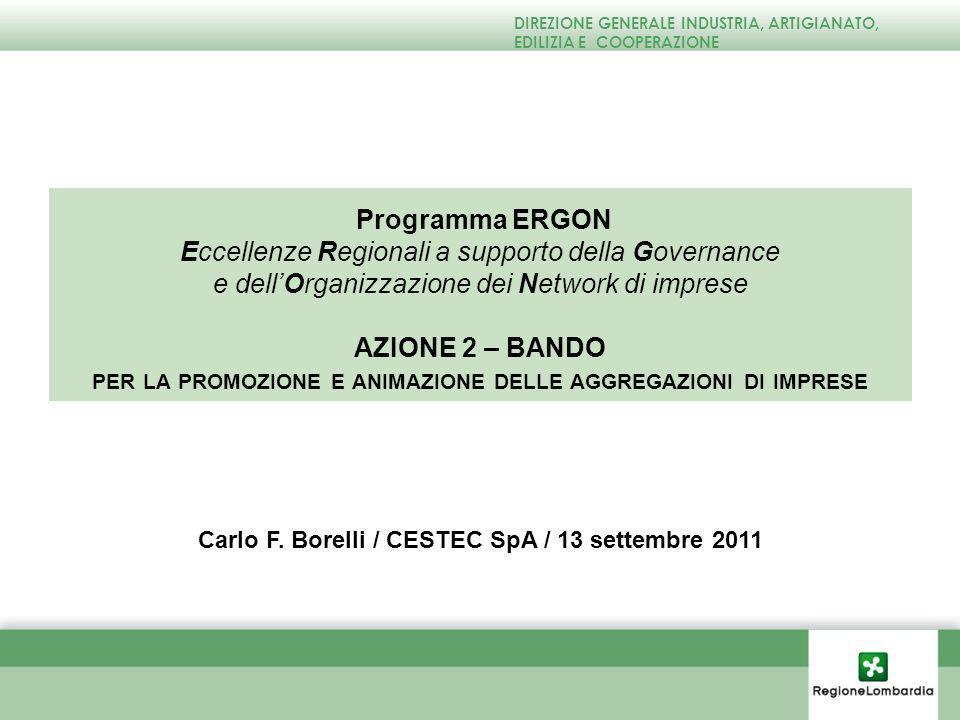 Programma ERGON Eccellenze Regionali a supporto della Governance e dellOrganizzazione dei Network di imprese AZIONE 2 – BANDO PER LA PROMOZIONE E ANIMAZIONE DELLE AGGREGAZIONI DI IMPRESE Carlo F.