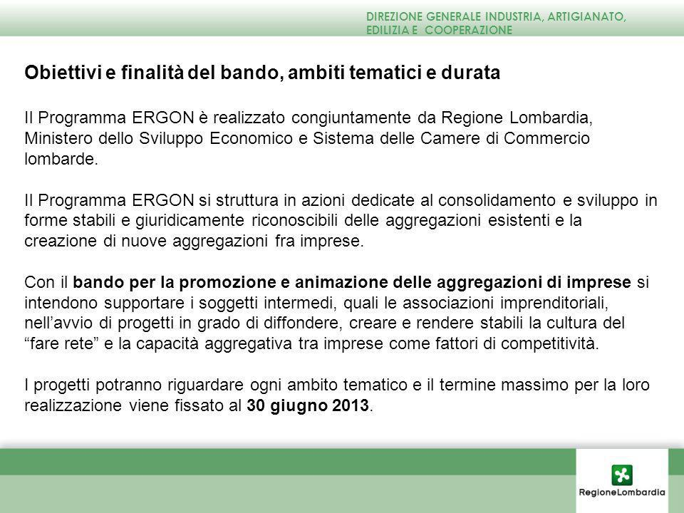 Obiettivi e finalità del bando, ambiti tematici e durata Il Programma ERGON è realizzato congiuntamente da Regione Lombardia, Ministero dello Sviluppo Economico e Sistema delle Camere di Commercio lombarde.