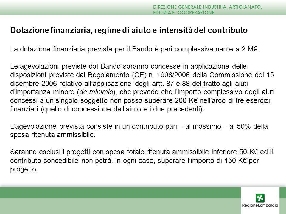 Dotazione finanziaria, regime di aiuto e intensità del contributo La dotazione finanziaria prevista per il Bando è pari complessivamente a 2 M.