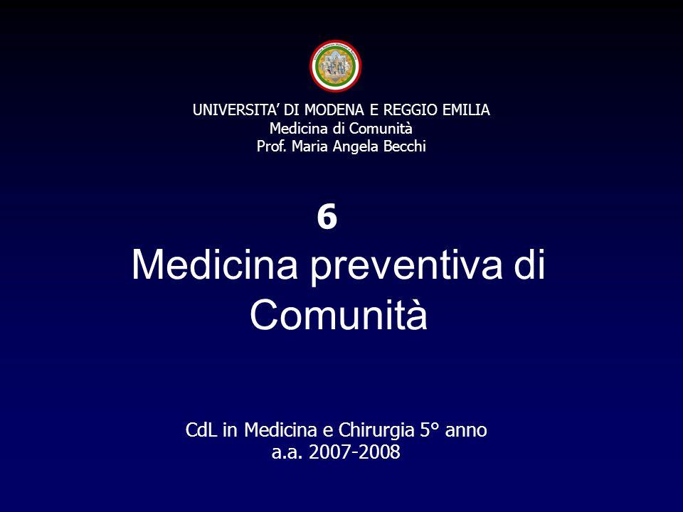 UNIVERSITA DI MODENA E REGGIO EMILIA Medicina di Comunità Prof.