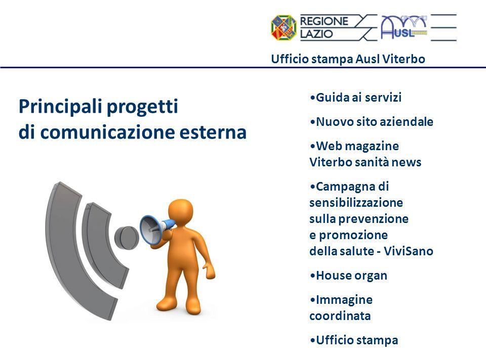 Ufficio stampa Ausl Viterbo Principali progetti di comunicazione esterna Guida ai servizi Nuovo sito aziendale Web magazine Viterbo sanità news Campag