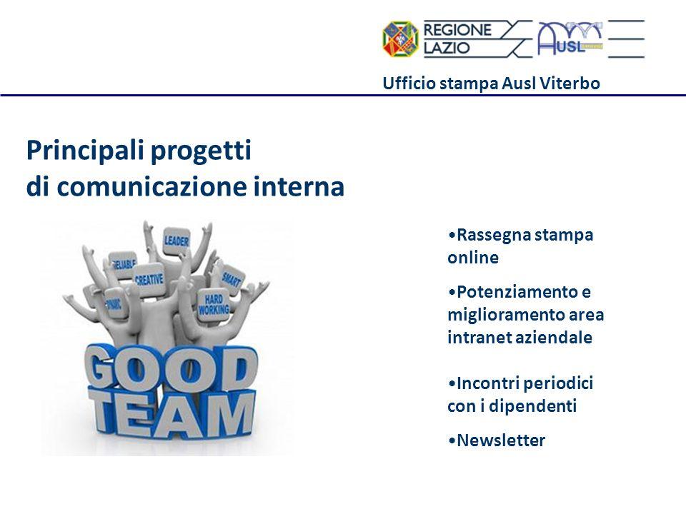 Ufficio stampa Ausl Viterbo Principali progetti di comunicazione interna Rassegna stampa online Potenziamento e miglioramento area intranet aziendale