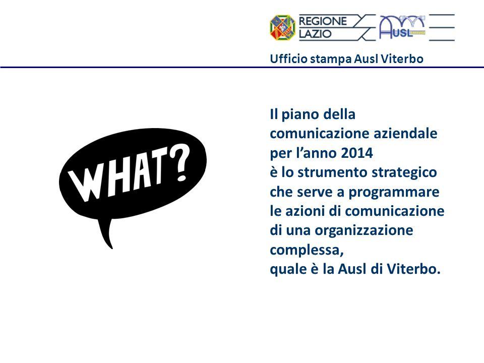 Ufficio stampa Ausl Viterbo Il piano della comunicazione aziendale per lanno 2014 è lo strumento strategico che serve a programmare le azioni di comun