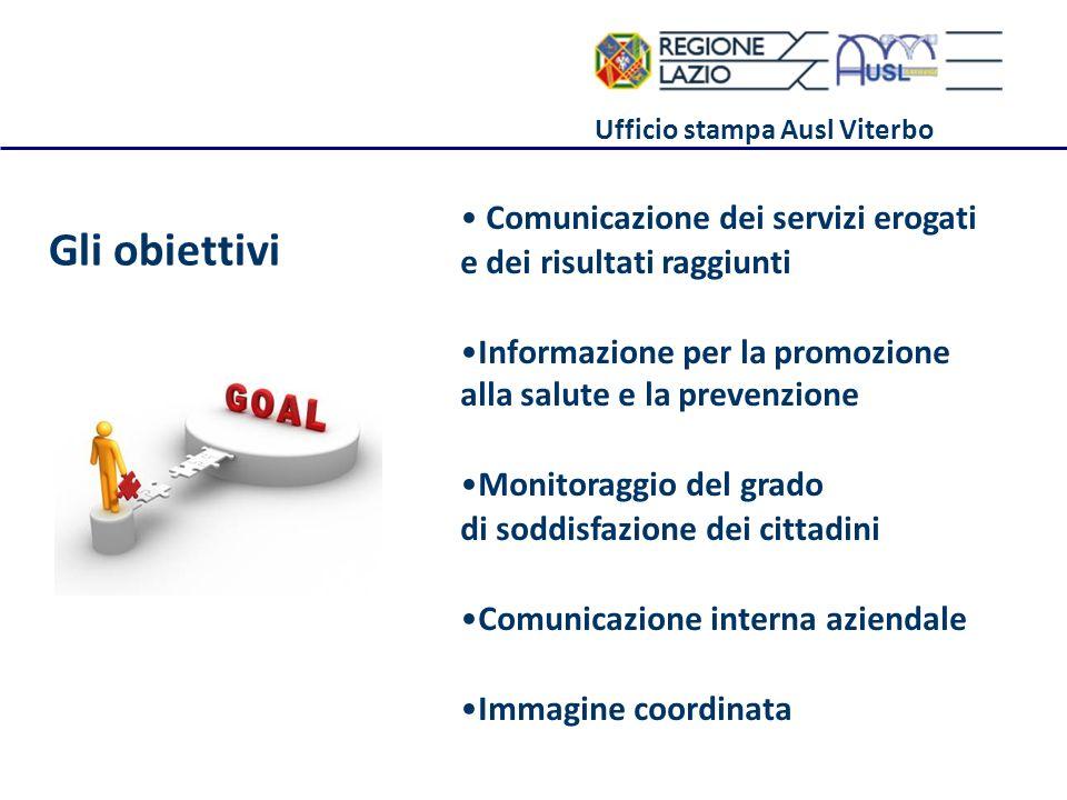 Ufficio stampa Ausl Viterbo Gli obiettivi Comunicazione dei servizi erogati e dei risultati raggiunti Informazione per la promozione alla salute e la