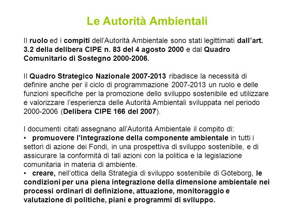 Le Autorità Ambientali Il ruolo ed i compiti dellAutorità Ambientale sono stati legittimati dallart.