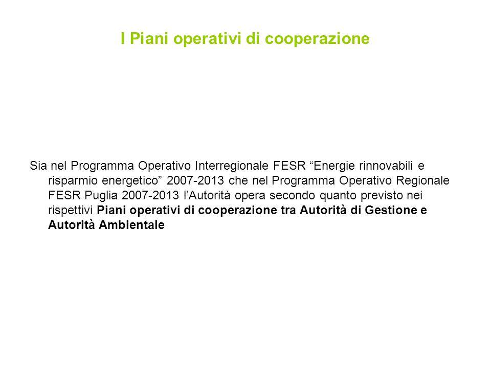 Sia nel Programma Operativo Interregionale FESR Energie rinnovabili e risparmio energetico 2007-2013 che nel Programma Operativo Regionale FESR Puglia 2007-2013 lAutorità opera secondo quanto previsto nei rispettivi Piani operativi di cooperazione tra Autorità di Gestione e Autorità Ambientale I Piani operativi di cooperazione