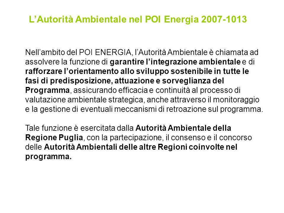 LAutorità Ambientale nel POI Energia 2007-1013 Nellambito del POI ENERGIA, lAutorità Ambientale è chiamata ad assolvere la funzione di garantire lintegrazione ambientale e di rafforzare lorientamento allo sviluppo sostenibile in tutte le fasi di predisposizione, attuazione e sorveglianza del Programma, assicurando efficacia e continuità al processo di valutazione ambientale strategica, anche attraverso il monitoraggio e la gestione di eventuali meccanismi di retroazione sul programma.