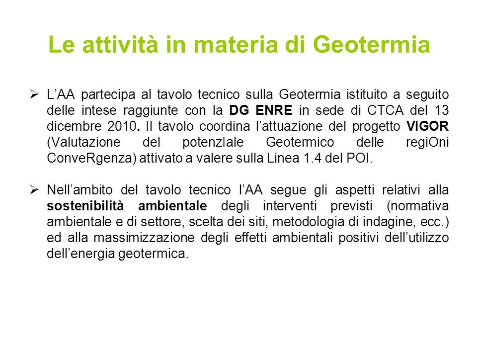 LAA partecipa al tavolo tecnico sulla Geotermia istituito a seguito delle intese raggiunte con la DG ENRE in sede di CTCA del 13 dicembre 2010.