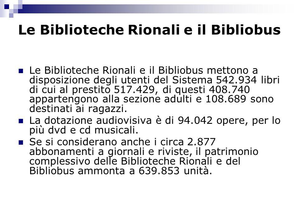 Le Biblioteche Rionali e il Bibliobus Le Biblioteche Rionali e il Bibliobus mettono a disposizione degli utenti del Sistema 542.934 libri di cui al prestito 517.429, di questi 408.740 appartengono alla sezione adulti e 108.689 sono destinati ai ragazzi.