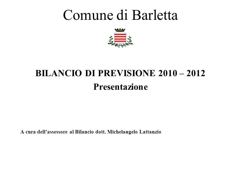Comune di Barletta BILANCIO DI PREVISIONE 2010 – 2012 Presentazione A cura dellassessore al Bilancio dott. Michelangelo Lattanzio