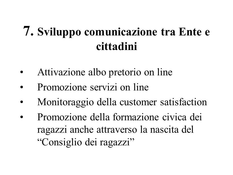 7. Sviluppo comunicazione tra Ente e cittadini Attivazione albo pretorio on line Promozione servizi on line Monitoraggio della customer satisfaction P