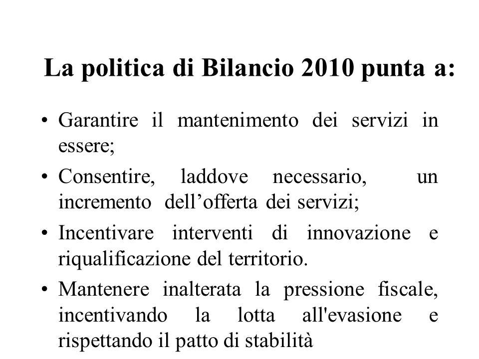 La politica di Bilancio 2010 punta a: Garantire il mantenimento dei servizi in essere; Consentire, laddove necessario, un incremento dellofferta dei servizi; Incentivare interventi di innovazione e riqualificazione del territorio.