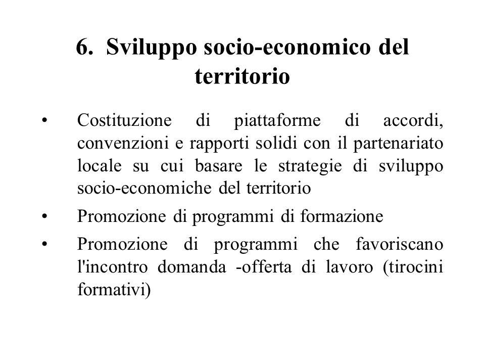 6. Sviluppo socio-economico del territorio Costituzione di piattaforme di accordi, convenzioni e rapporti solidi con il partenariato locale su cui bas