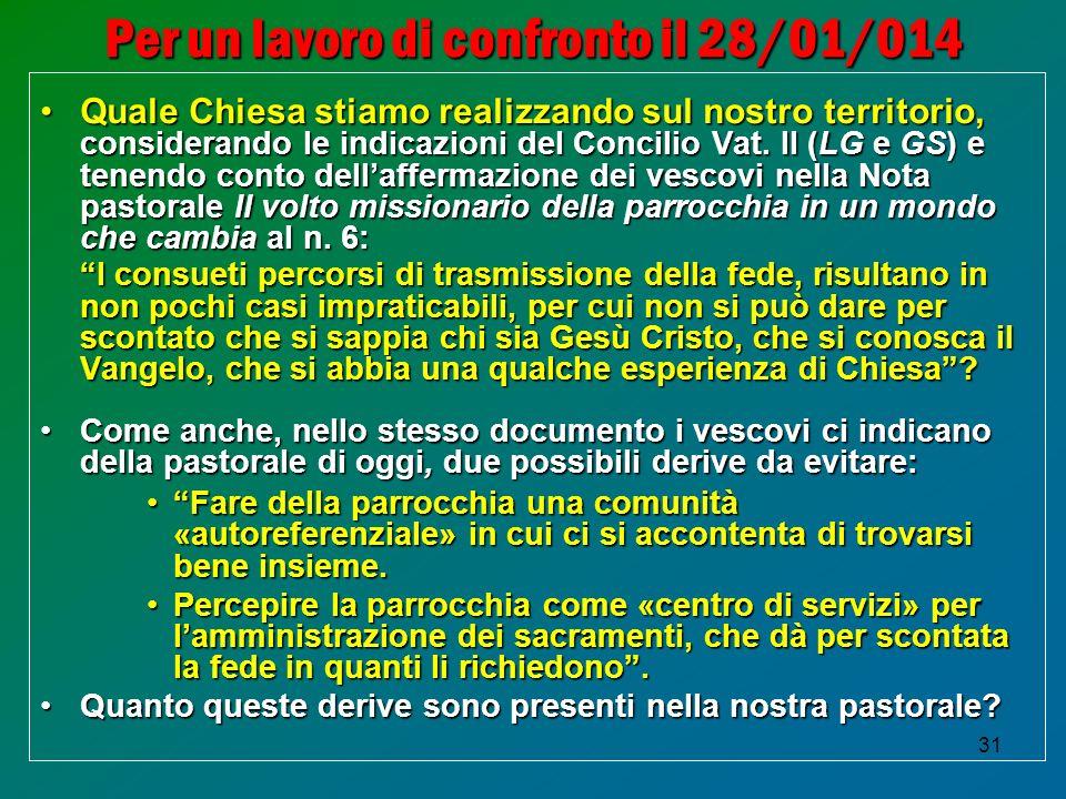 31 Per un lavoro di confronto il 28/01/014 Quale Chiesa stiamo realizzando sul nostro territorio, considerando le indicazioni del Concilio Vat.