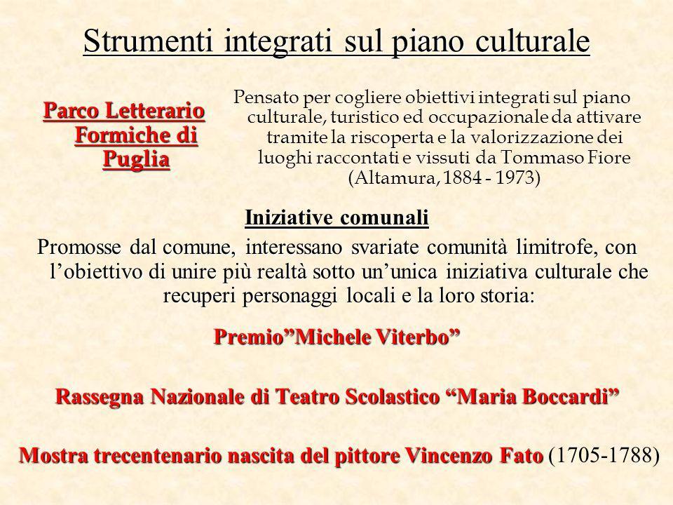 Strumenti integrati sul piano culturale Parco Letterario Formiche di Puglia PremioMichele Viterbo Rassegna Nazionale di Teatro Scolastico Maria Boccar