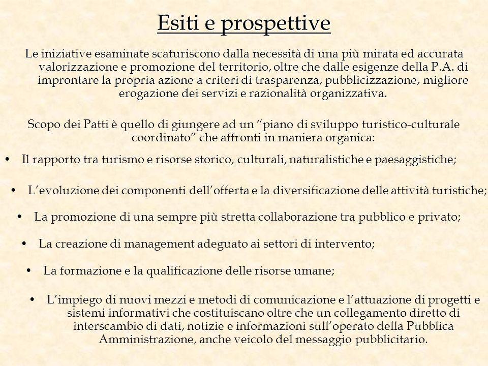 Esiti e prospettive Le iniziative esaminate scaturiscono dalla necessità di una più mirata ed accurata valorizzazione e promozione del territorio, olt