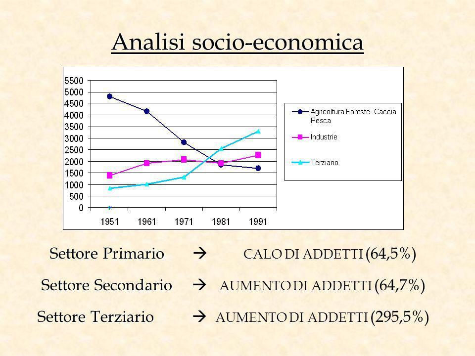 Analisi socio-economica Settore Primario Settore Primario CALO DI ADDETTI (64,5%) Settore Secondario Settore Secondario AUMENTO DI ADDETTI (64,7%) Set