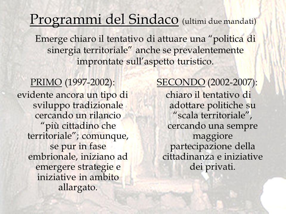 Programmi del Sindaco Programmi del Sindaco (ultimi due mandati) SECONDO SECONDO (2002-2007): chiaro il tentativo di adottare politiche su scala terri