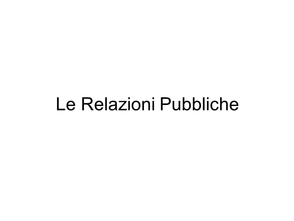 Le Relazioni Pubbliche