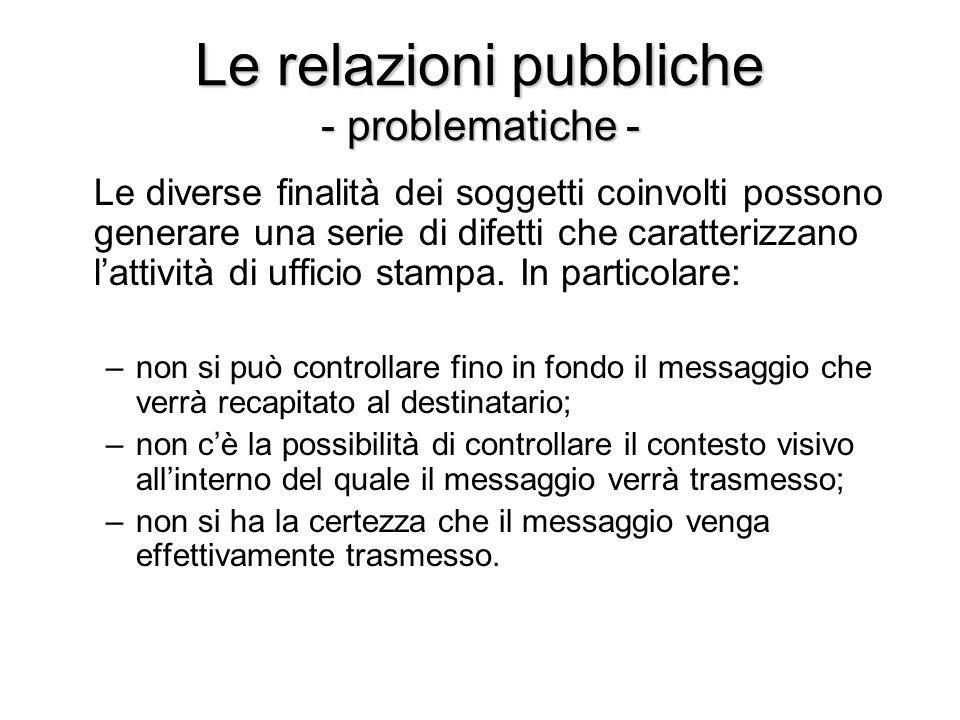 Le relazioni pubbliche - problematiche - Le diverse finalità dei soggetti coinvolti possono generare una serie di difetti che caratterizzano lattività di ufficio stampa.