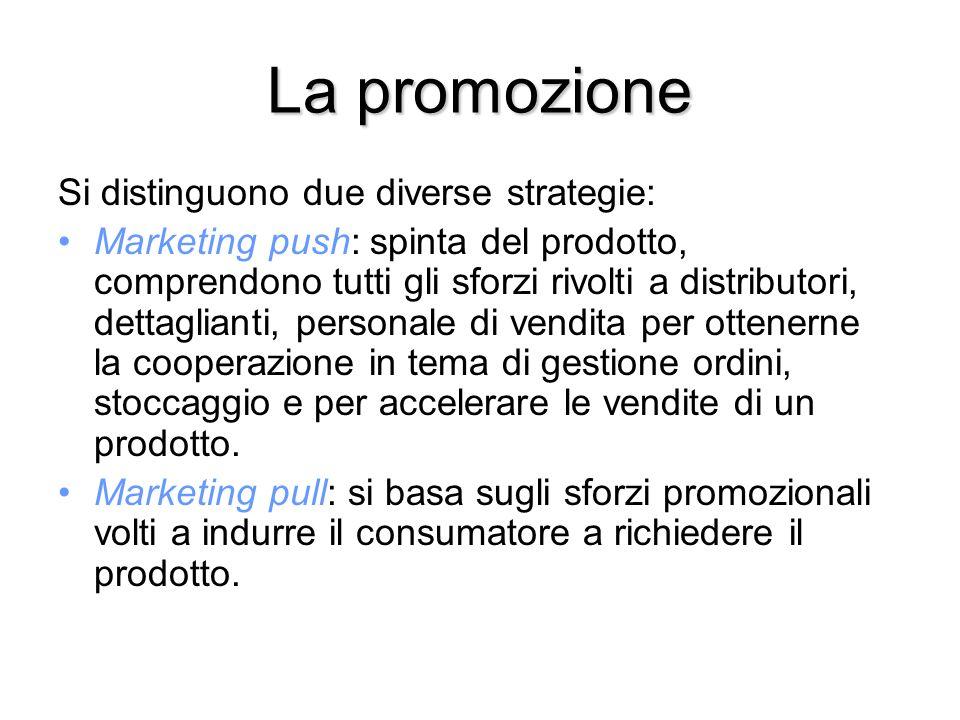 La promozione Si distinguono due diverse strategie: Marketing push: spinta del prodotto, comprendono tutti gli sforzi rivolti a distributori, dettaglianti, personale di vendita per ottenerne la cooperazione in tema di gestione ordini, stoccaggio e per accelerare le vendite di un prodotto.