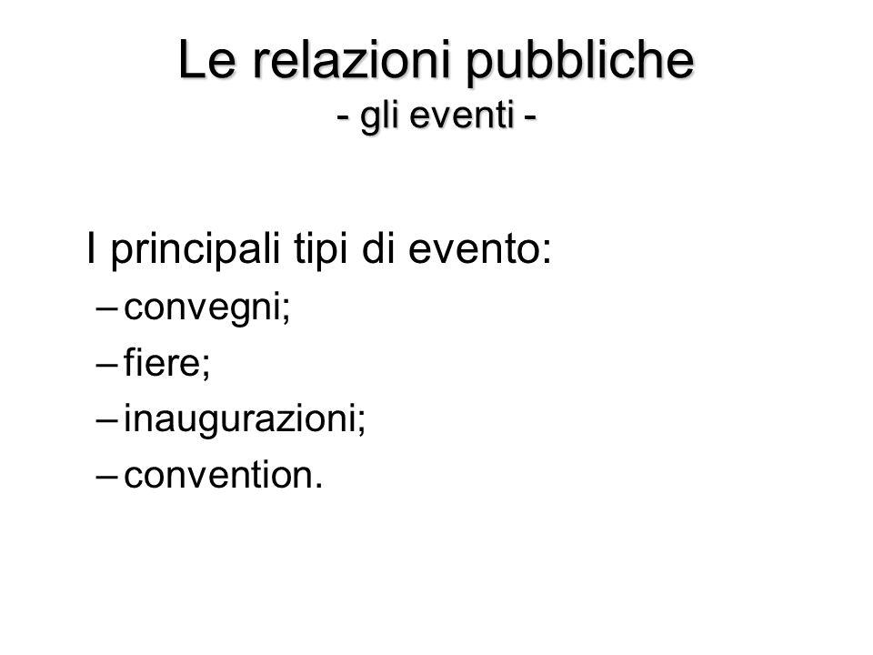 Le relazioni pubbliche - gli eventi - I principali tipi di evento: –convegni; –fiere; –inaugurazioni; –convention.