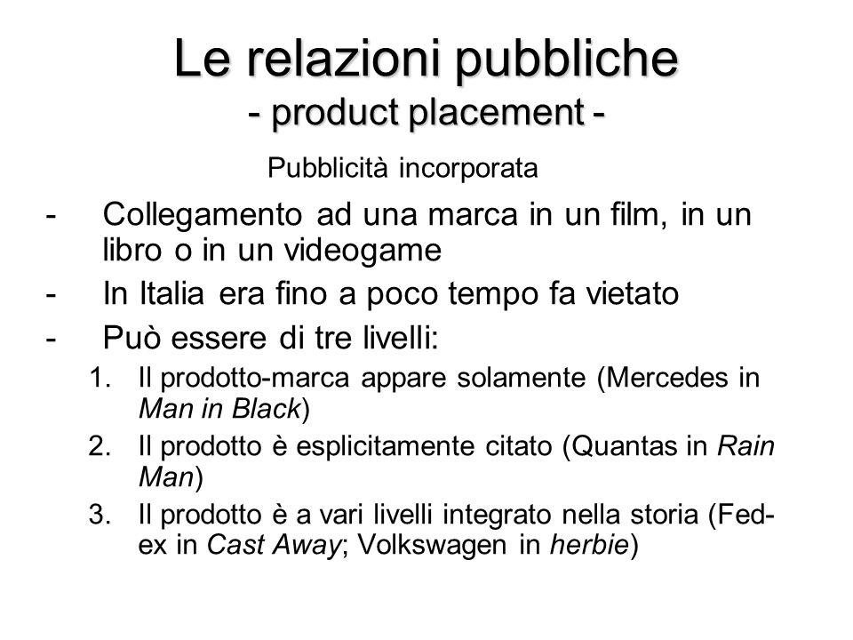 Le relazioni pubbliche - product placement - -Collegamento ad una marca in un film, in un libro o in un videogame -In Italia era fino a poco tempo fa vietato -Può essere di tre livelli: 1.Il prodotto-marca appare solamente (Mercedes in Man in Black) 2.Il prodotto è esplicitamente citato (Quantas in Rain Man) 3.Il prodotto è a vari livelli integrato nella storia (Fed- ex in Cast Away; Volkswagen in herbie) Pubblicità incorporata