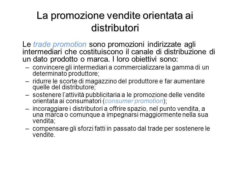 La promozione vendite orientata ai distributori Le trade promotion sono promozioni indirizzate agli intermediari che costituiscono il canale di distribuzione di un dato prodotto o marca.