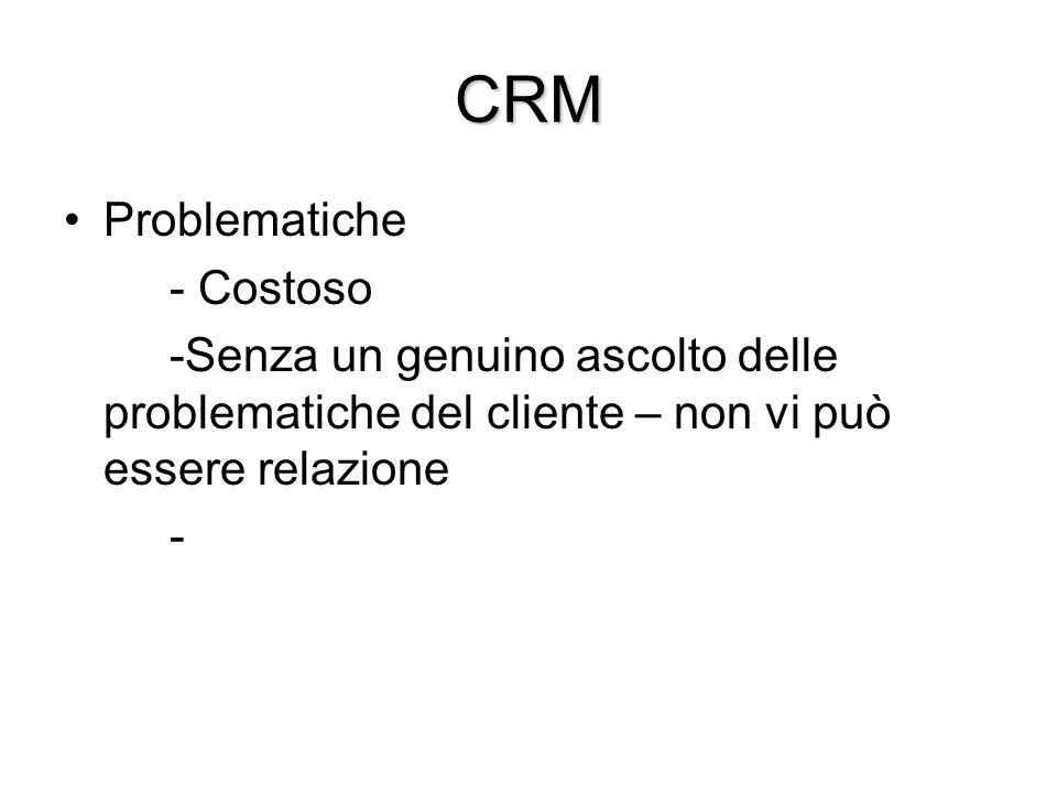 CRM Problematiche - Costoso -Senza un genuino ascolto delle problematiche del cliente – non vi può essere relazione -