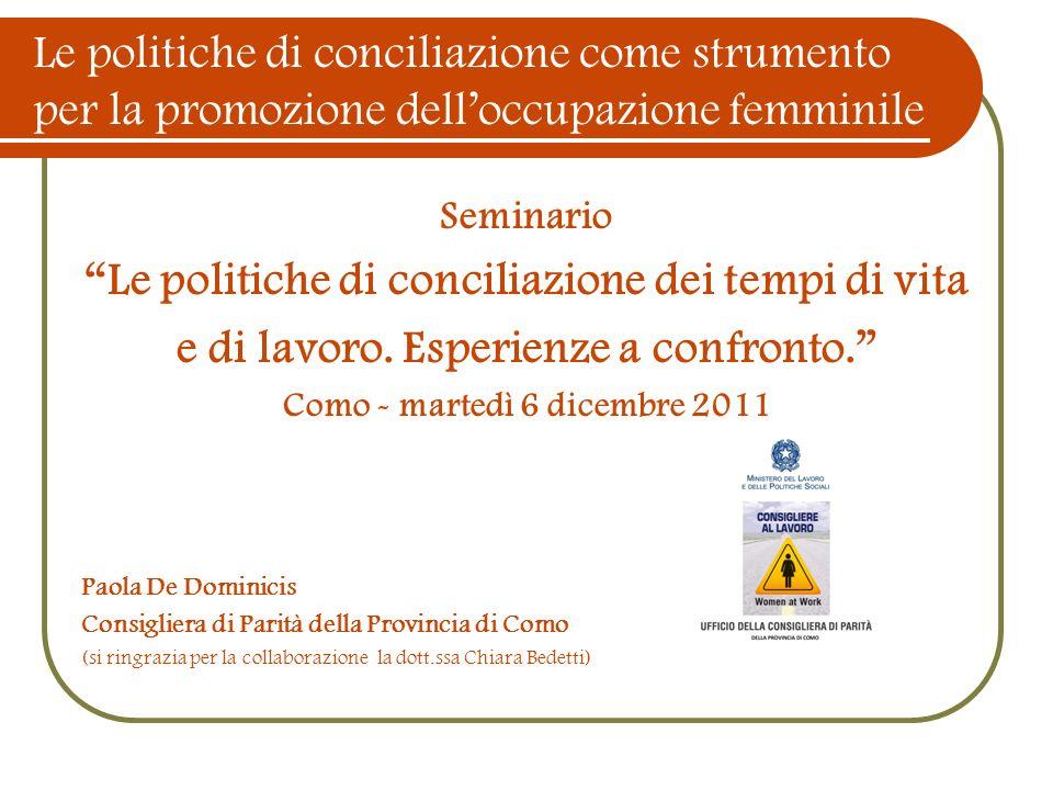 Le politiche di conciliazione come strumento per la promozione delloccupazione femminile Seminario Le politiche di conciliazione dei tempi di vita e d