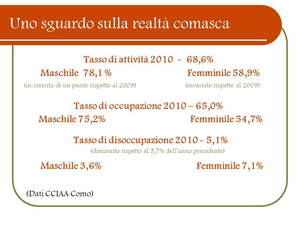 Uno sguardo sulla realtà comasca Tasso di attività 2010 - 68,6% Maschile 78,1 % Femminile 58,9% (in crescita di un punto rispetto al 2009) (invariato