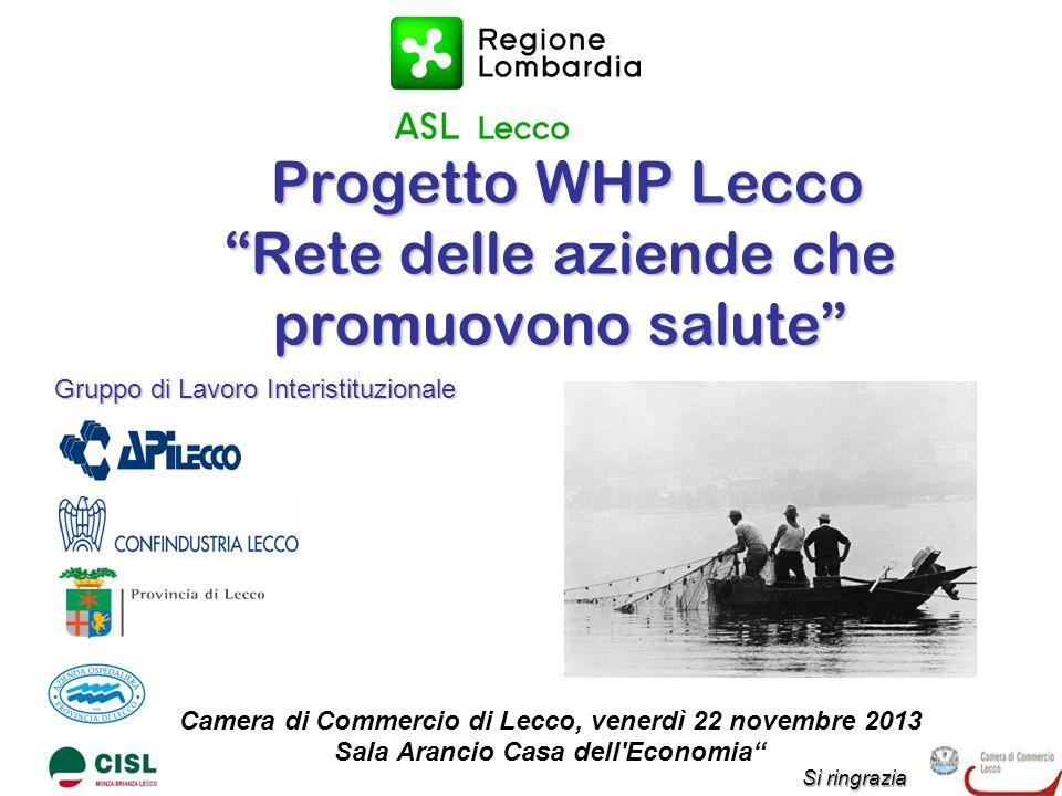 Progetto WHP Lecco Rete delle aziende che promuovono salute Progetto WHP Lecco Rete delle aziende che promuovono salute Camera di Commercio di Lecco,