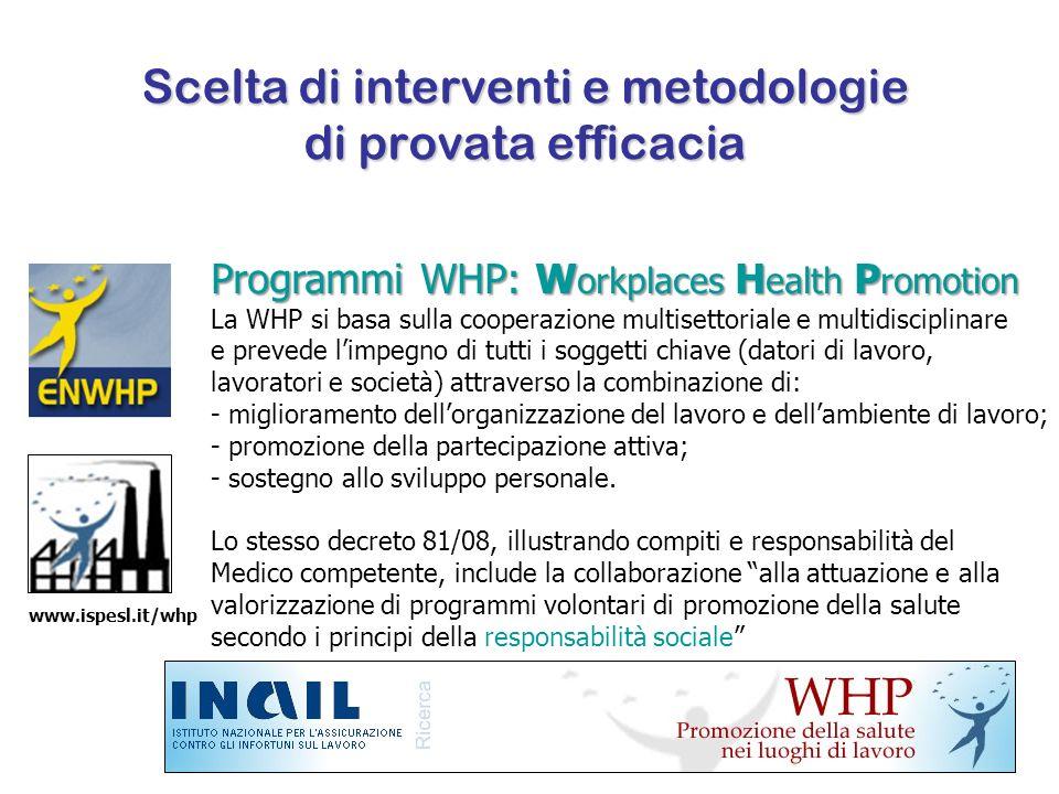 Scelta di interventi e metodologie di provata efficacia Programmi WHP: W orkplaces H ealth P romotion La WHP si basa sulla cooperazione multisettorial