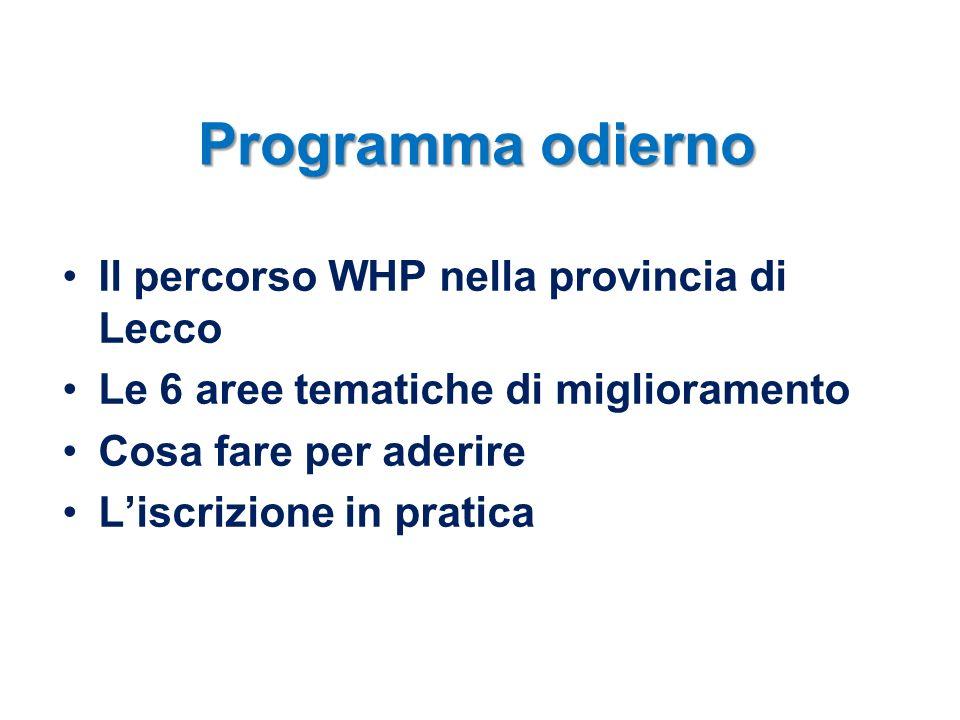Programma odierno Il percorso WHP nella provincia di Lecco Le 6 aree tematiche di miglioramento Cosa fare per aderire Liscrizione in pratica