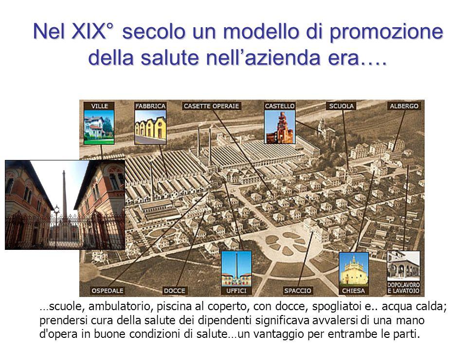 Nel XIX° secolo un modello di promozione della salute nellazienda era…. …scuole, ambulatorio, piscina al coperto, con docce, spogliatoi e.. acqua cald