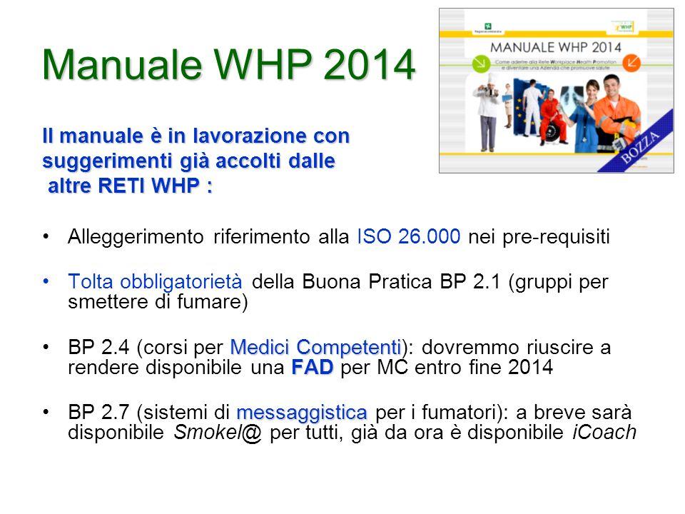 Manuale WHP 2014 Il manuale è in lavorazione con suggerimenti già accolti dalle altre RETI WHP : altre RETI WHP : Alleggerimento riferimento alla ISO