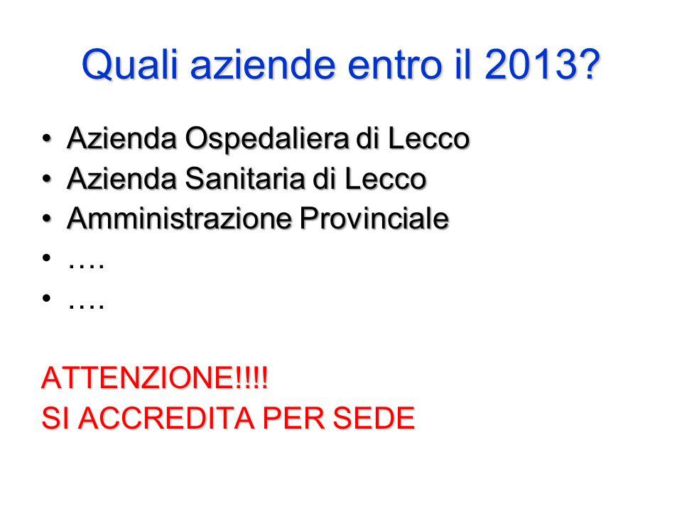 Quali aziende entro il 2013? Azienda Ospedaliera di LeccoAzienda Ospedaliera di Lecco Azienda Sanitaria di LeccoAzienda Sanitaria di Lecco Amministraz